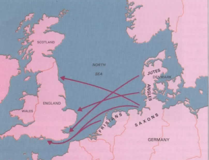 Britain with Anglo Saxon migration routes